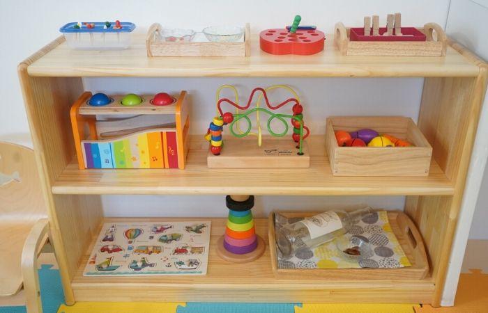 子どもサイズの教具収納棚・おもちゃ棚