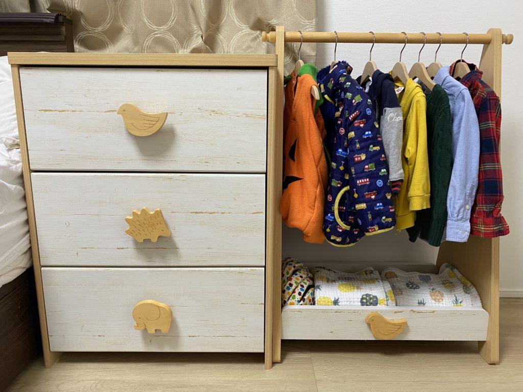 子どもサイズの洋服収納(洋服ダンス・ハンガー掛け)