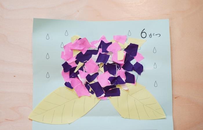 のり貼りのおうち遊び①『折り紙貼りで紫陽花』